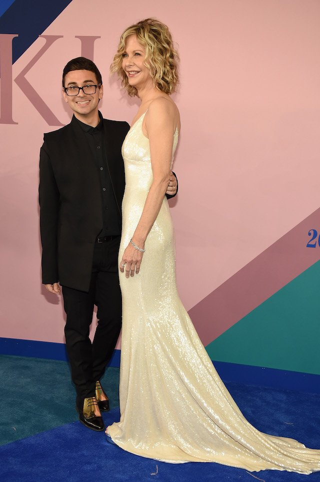 NEW YORK, NY - JUNE 05: Christian Siriano and Meg Ryan attend the 2017 CFDA Fashion Awards at Hammerstein Ballroom on June 5, 2017 in New York City. (Photo by Dimitrios Kambouris/Getty Images)