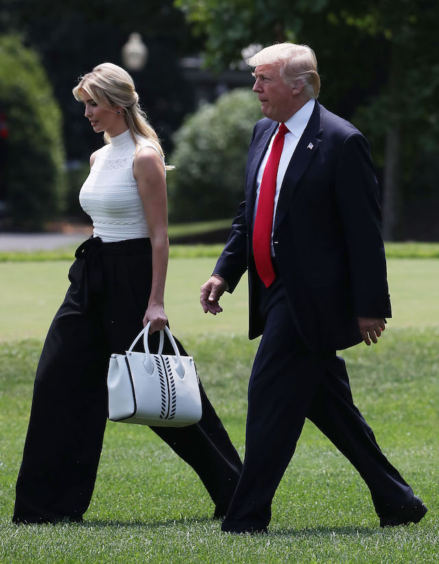 WASHINGTON, DC - JUNE 13: U.S. President Donald Trump and daughter Ivanka Trump walk toward Marine One before departing from the White House on June 13, 2017 in Washington, DC. President Trump is traveling to Milwaukee, Wisconsin. Trump will visit Waukesha County Technical College and also appear at a political fundraiser. (Photo by Mark Wilson/Getty Images)