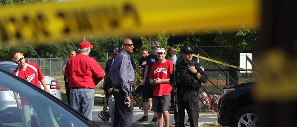 ALEXANDRIA, VA - JUNE 14: Police secure the site of a morning shooting at Eugene Simpson Stadium Park June 14, 2017 in Alexandria, Virginia. U.S. House Majority Whip Steve Scalise (R-LA) was among five wounded, including the suspected gunman, in the attack as Republican Congressional members practiced for a charity baseball game. (Photo by Alex Wong/Getty Images)