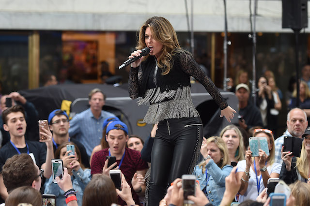 "NEW YORK, NY - JUNE 16: Shania Twain performs on NBC's ""Today"" at Rockefeller Center on June 16, 2017 in New York City. (Photo by Nicholas Hunt/Getty Images)"