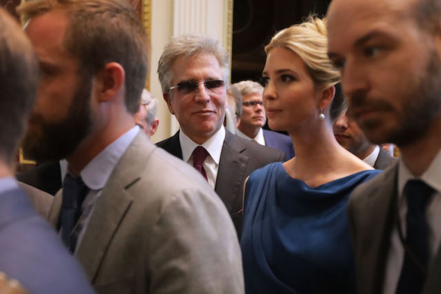 """WASHINGTON, DC - JUNE 19: SAP CEO Bill McDermott (C) and Ivanka Trump attend the inaugural meeting of the American Technology Council during the inaugural meeting of the American Technology Council in the Indian Treaty Room at the Eisenhower Executive Office Building next door to the White House June 19, 2017 in Washington, DC. According to the White House, the council's goal is """"to explore how to transform and modernize government information technology."""" (Photo by Chip Somodevilla/Getty Images)"""