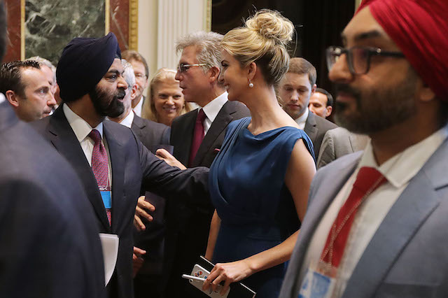 "WASHINGTON, DC - JUNE 19: Master Card CEO Ajay Banga (2nd L) talks with Ivanka Trump during the inaugural meeting of the American Technology Council during the inaugural meeting of the American Technology Council in the Indian Treaty Room at the Eisenhower Executive Office Building next door to the White House June 19, 2017 in Washington, DC. According to the White House, the council's goal is ""to explore how to transform and modernize government information technology."" (Photo by Chip Somodevilla/Getty Images)"