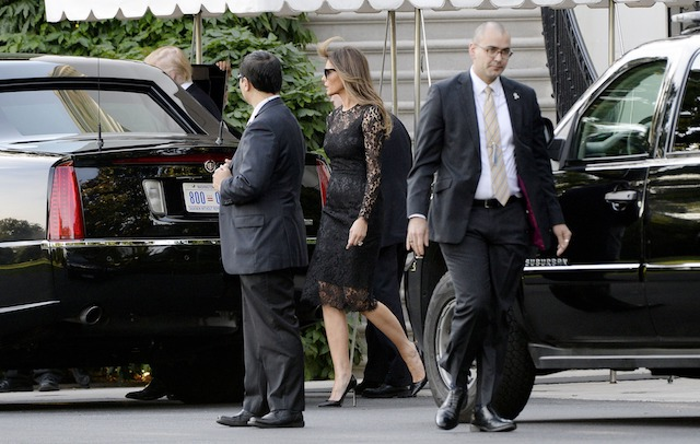 WASHINGTON, DC - JUNE 20: President Donald Trump and first lady Melania Trump depart the White House en route to the Naval Observatory for dinner with Vice President Mike Pence and Mrs. Karen Pence in Washington, DC, on June 20, 2017. ( Photo by Olivier Douliery-Pool/Getty Images)