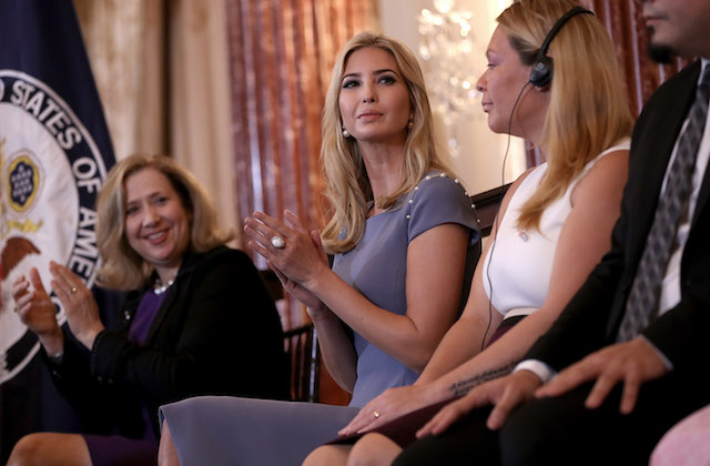 """WASHINGTON, DC - JUNE 27: Ivanka Trump participates in a 2017 Trafficking in Persons Report ceremony at the U.S. State Department June 27, 2017 in Washington, DC. The ceremony honored """"eight men and women from around the world whose efforts have made a lasting impact on the fight against modern slavery"""". (Photo by Win McNamee/Getty Images)"""