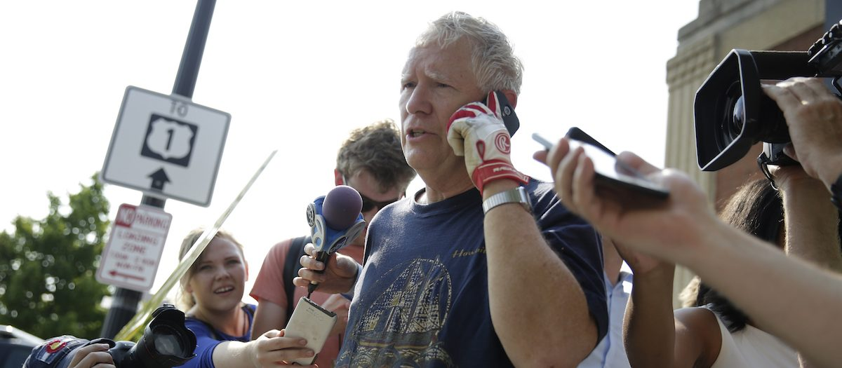 U.S. Rep. Mo Brooks (R-AL) talks to reporters after a gunman opened fire on Republican members of Congress during a baseball practice near Washington in Alexandria, Virginia, U.S., June 14, 2017. REUTERS/Joshua Roberts - RTS172FJ