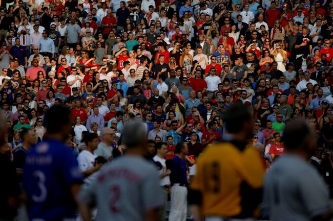 Members of the crowd stand for the National Anthem during the Congressional Baseball Game at Nationals Park in Washington, U.S., June 15, 2017. (REUTERS/Aaron P. Bernstein)