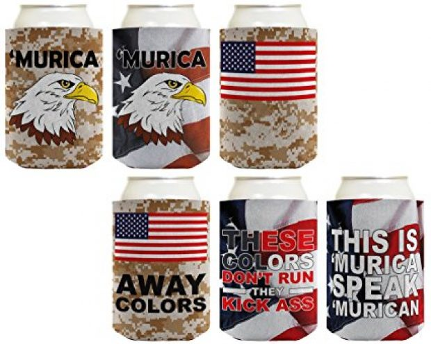 This 6-pack of coozies is perfect for any BBQ, and especially for 4th of July (Photo via Amazon)