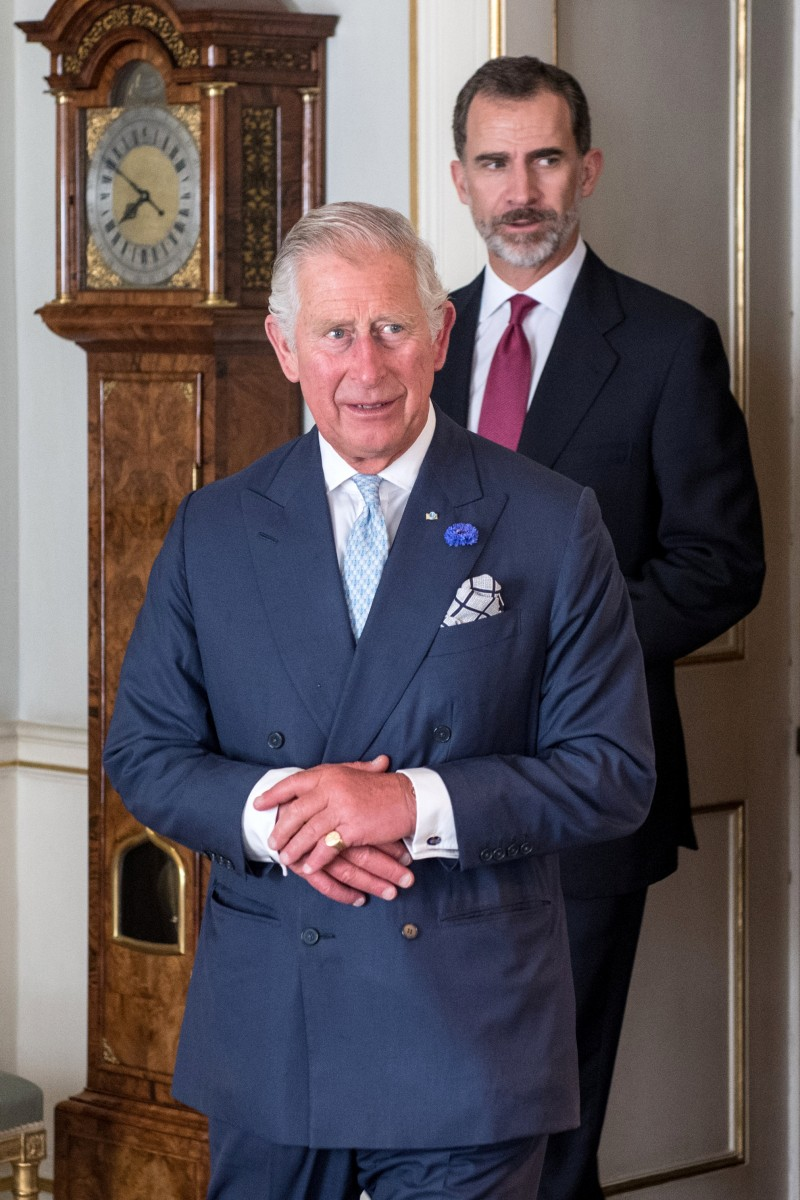 Britain's Prince Charles greets Spain's King Felipe in Clarence House in central London, Britain July 12, 2017. REUTERS/Chris J Ratcliffe/Pool