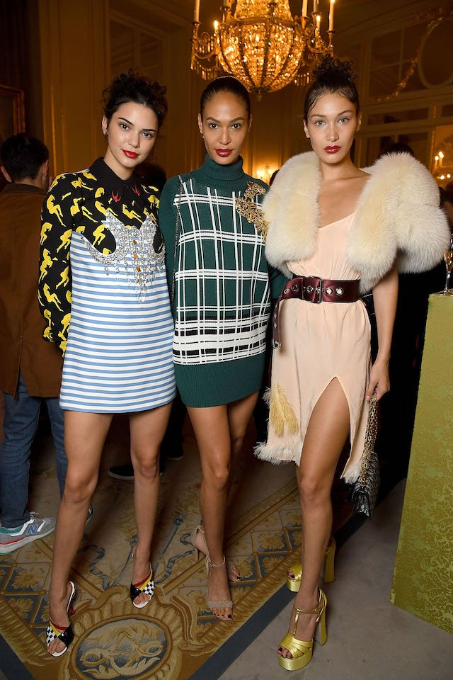 PARIS, FRANCE - JULY 02: (L-R) Kendall Jenner, Joan Smalls and Bella Hadid attends Miu Miu Cruise Collection show as part of Haute Couture Paris Fashion Week on July 2, 2017 in Paris, France. (Photo by Pascal Le Segretain/Getty Images)