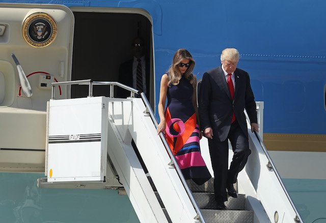 HAMBURG, GERMANY - JULY 06: U.S. President Donald Trump and First Lady Melania Trump arrive at Hamburg Airport for the Hamburg G20 economic summit on July 6, 2017 in Hamburg, Germany. Leaders of the G20 group of nations are meeting for the July 7-8 summit. Topics high on the agenda for the summit include climate policy and development programs for African economies. (Photo by Sean Gallup/Getty Images)