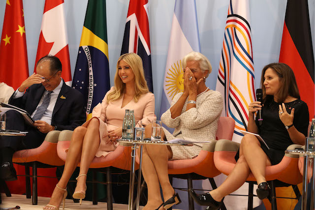 HAMBURG, GERMANY - JULY 08: World Bank president Jim Yong Kim, Daughter and advisor to US President Trump, Ivanka Trump and Managing Director of the International Monetary Fund (IMF), Christine Lagarde laugh during the G20 summit on July 8, 2017 in Hamburg, Germany. Leaders of the G20 group of nations are meeting for the July 7-8 summit. Topics high on the agenda for the summit include climate policy and development programs for African economies. (Photo by Matt Cardy/Getty Images)