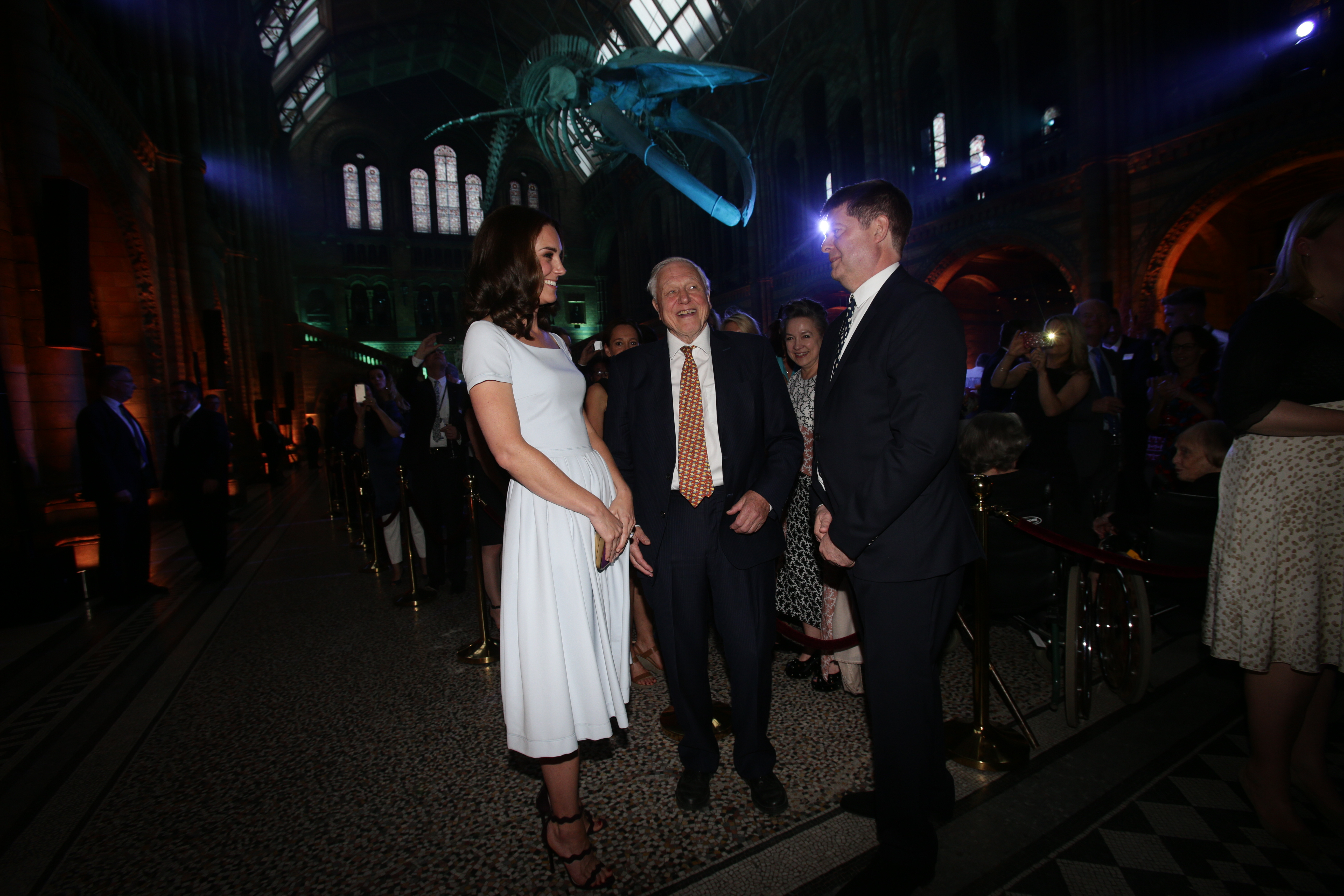 LONDON, UNITED KINGDOM - JULY 13: Catherine, Duchess of Cambridge and Sir David Attenborough attend the reopening of Hintze Hall at the Natural History Museum on July 13, 2017 in London, England.. (Photo by Yui Mok - WPA Pool/Getty Images)