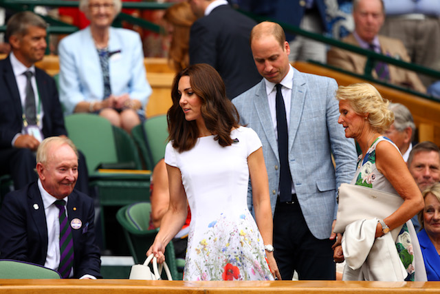 LONDON, ENGLAND - JULY 16: Prince William, Duke of Cambridge and Catherine, Duchess of Cambridge and welcomed by Gill Brook in the centre court royal box prior to the Gentlemen's Singles final between Roger Federer of Switzerland and Marin Cilic of Croatia on day thirteen of the Wimbledon Lawn Tennis Championships at the All England Lawn Tennis and Croquet Club at Wimbledon on July 16, 2017 in London, England. (Photo by Clive Brunskill/Getty Images)