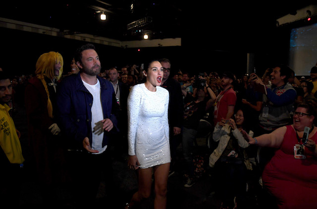 "SAN DIEGO, CA - JULY 22: (L-R) Actors Ezra Miller, Ben Affleck and Gal Gadot attend the Warner Bros. Pictures ""Justice League"" Presentation during Comic-Con International 2017 at San Diego Convention Center on July 22, 2017 in San Diego, California. (Photo by Kevin Winter/Getty Images)"