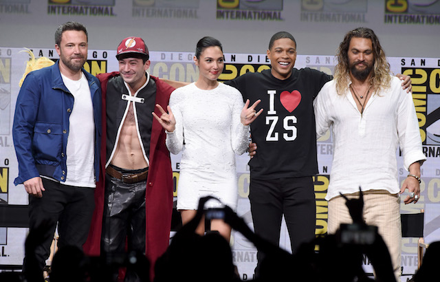 "SAN DIEGO, CA - JULY 22: (L-R) Actors Ben Affleck, Ezra Miller, Gal Gadot, Ray Fisher, and Jason Momoa from ""Justice League"" attend the Warner Bros. Pictures Presentation during Comic-Con International 2017 at San Diego Convention Center on July 22, 2017 in San Diego, California. (Photo by Kevin Winter/Getty Images)"
