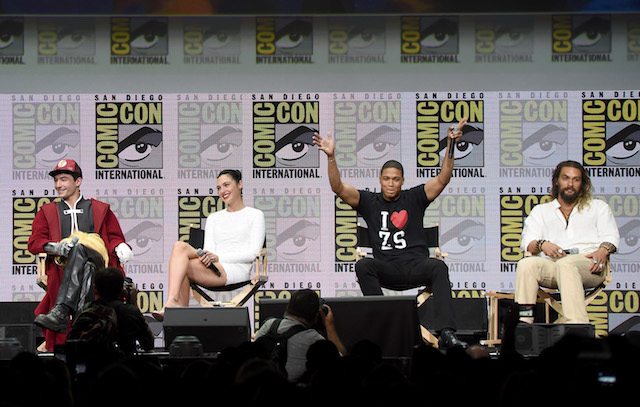 "SAN DIEGO, CA - JULY 22: (L-R) Actors Ezra Miller, Gal Gadot, Ray Fisher, and Jason Momoa attend the Warner Bros. Pictures ""Justice League"" Presentation during Comic-Con International 2017 at San Diego Convention Center on July 22, 2017 in San Diego, California. (Photo by Kevin Winter/Getty Images)"
