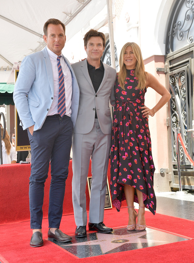 HOLLYWOOD, CA - JULY 26: (L-R) Will Arnett, Jason Bateman, and Jennifer Aniston attend The Hollywood Walk of Fame Star Ceremony honoring Jason Bateman on July 26, 2017 in Hollywood, California. (Photo by Matt Winkelmeyer/Getty Images)