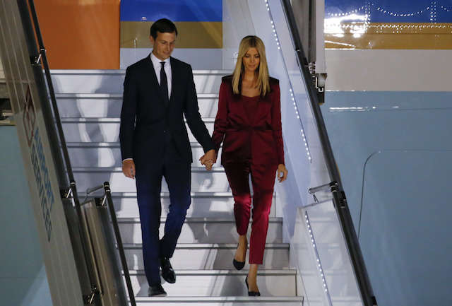 Ivanka Trump and her husband Jared Kushner, senior advisor of President Donald Trump, arrive aboard Air Force One at Warsaw military airport in Warsaw, Poland July 5, 2017. REUTERS/Laszlo Balogh - RTX3A7BO