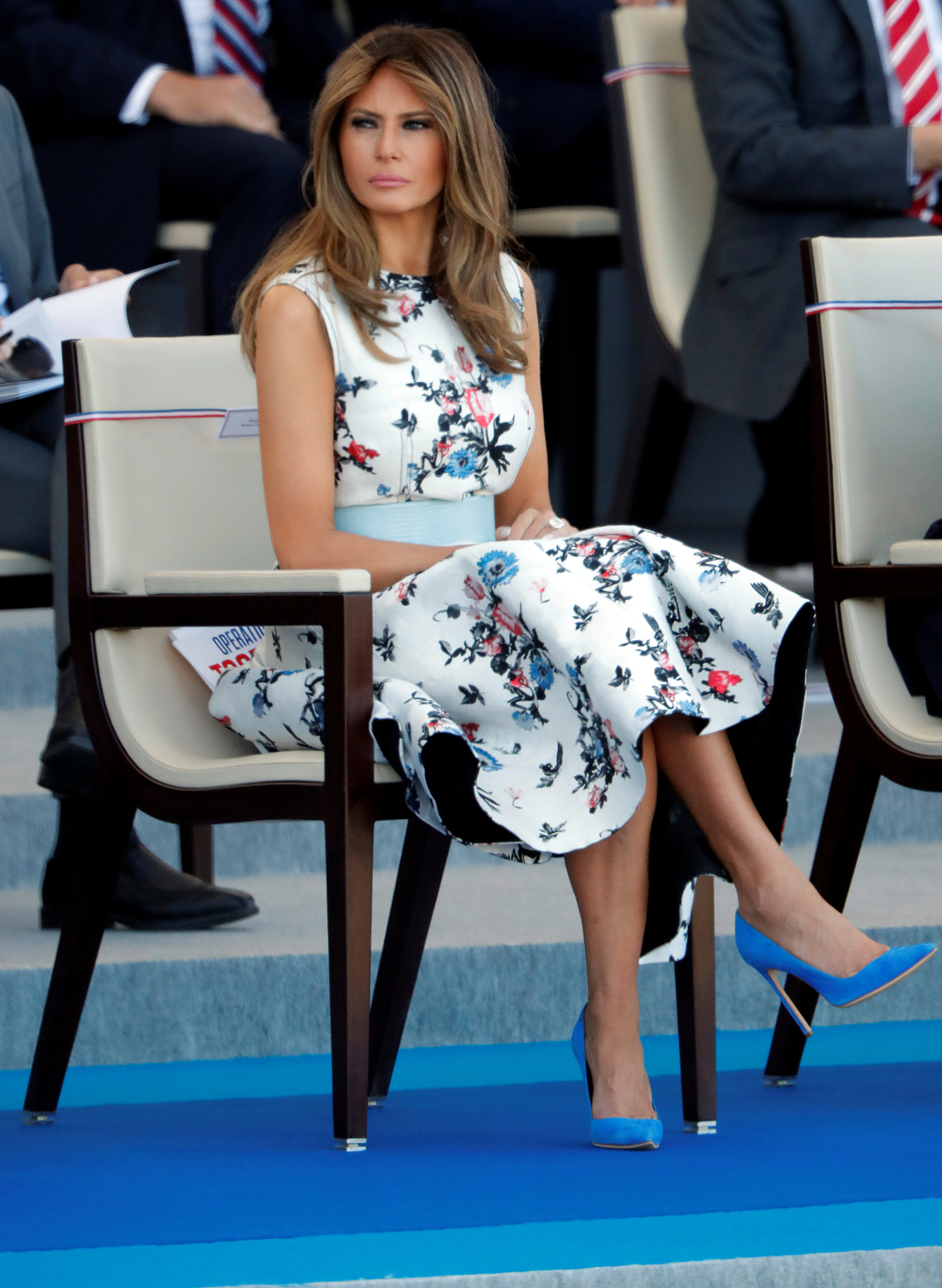 U.S. First Lady Melania Trump attends the traditional Bastille day military parade on the Champs-Elysees in Paris, France, July 14, 2017. REUTERS/Charles Platiau