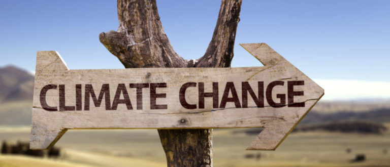 Climate Change wooden sign with a desert background (By ESB Professional/Shutterstock)