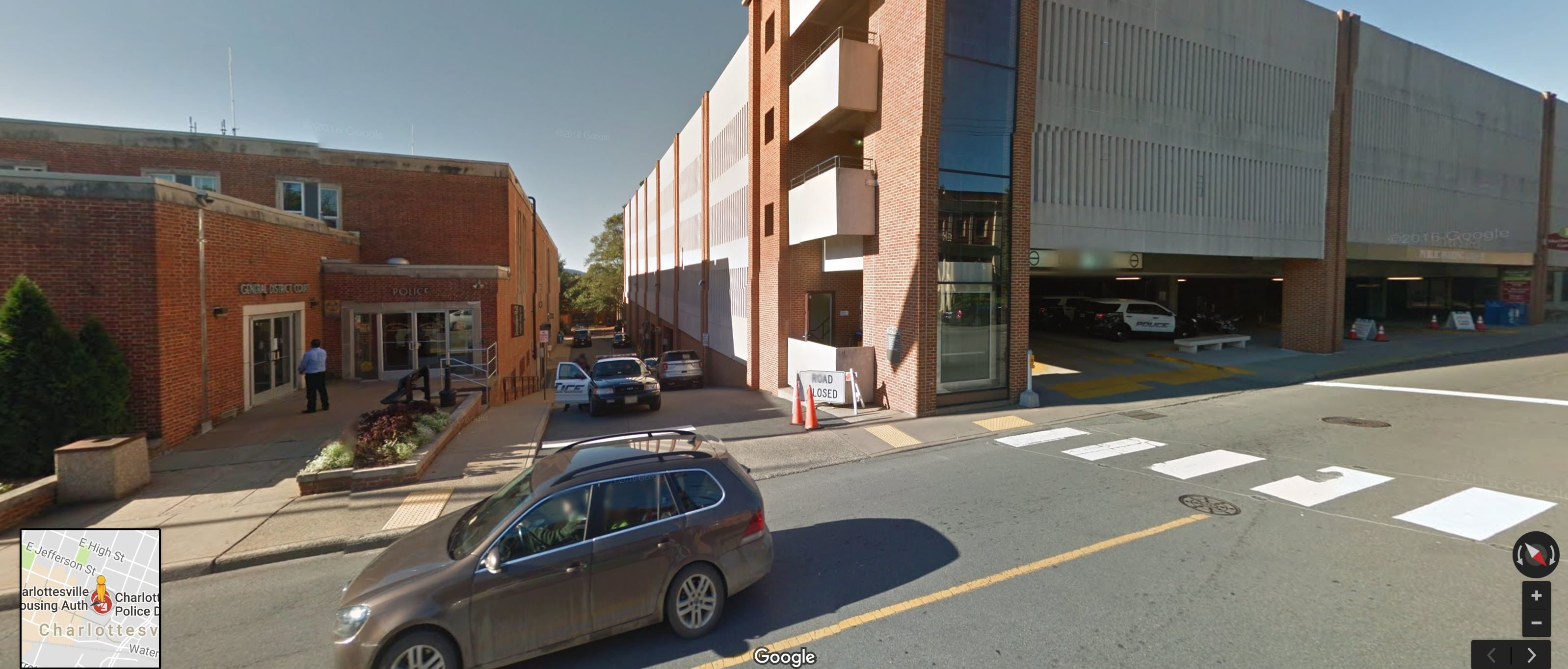 Photo from Google Maps shows the parking structure where the video was captured. The Charlottesville Police Dept. is next door. (Google Maps Screenshot)