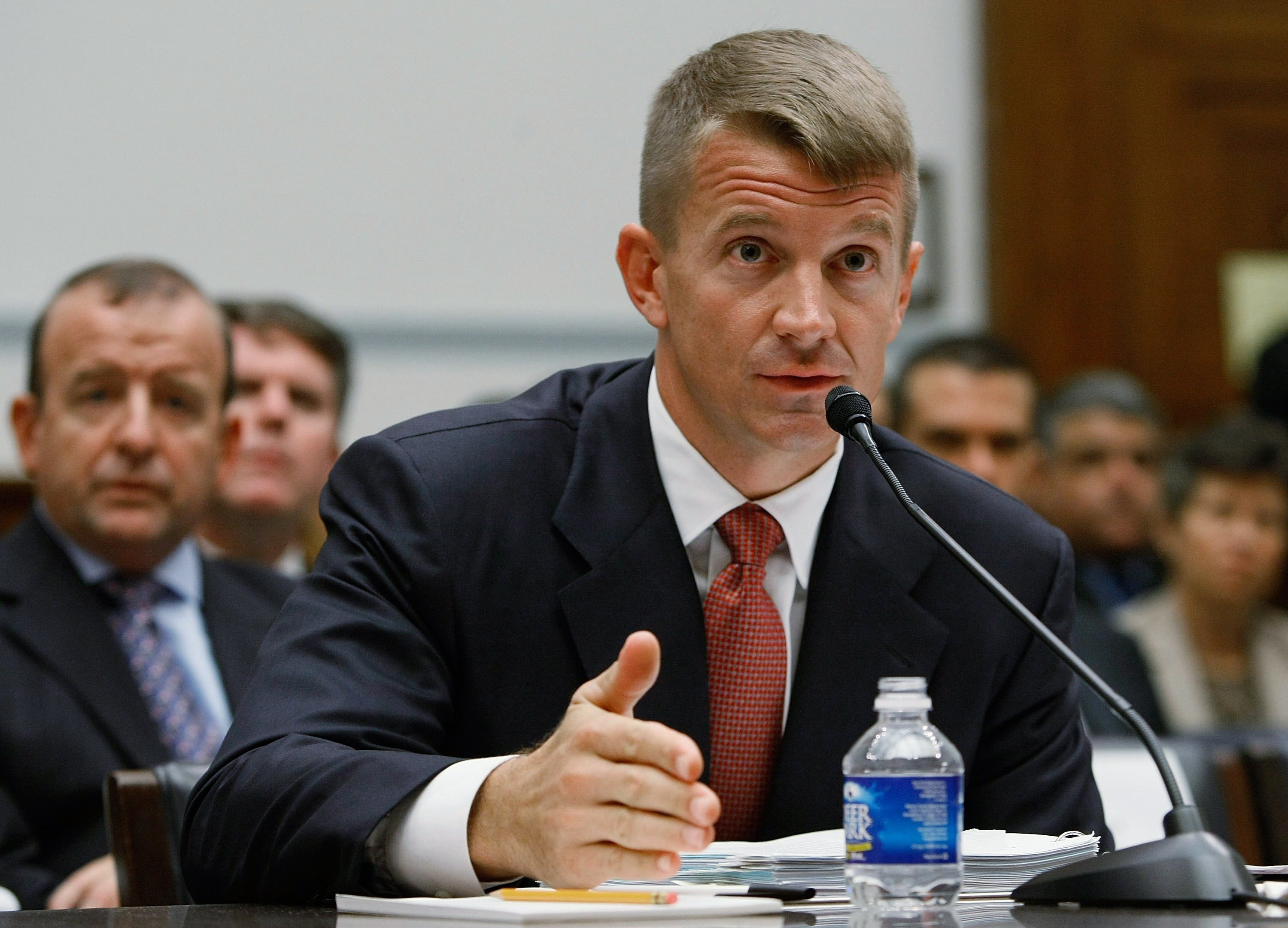WASHINGTON - OCTOBER 02: Erik Prince, chairman of the Prince Group, LLC and Blackwater USA, tesifies during a House Oversight and Government Reform Committee hearing on Capitol Hill October 2, 2007 in Washington, DC. The committee is hearing testimony from officials regarding private security contracting in Iraq and Afghanistan. (Photo by Mark Wilson/Getty Images)