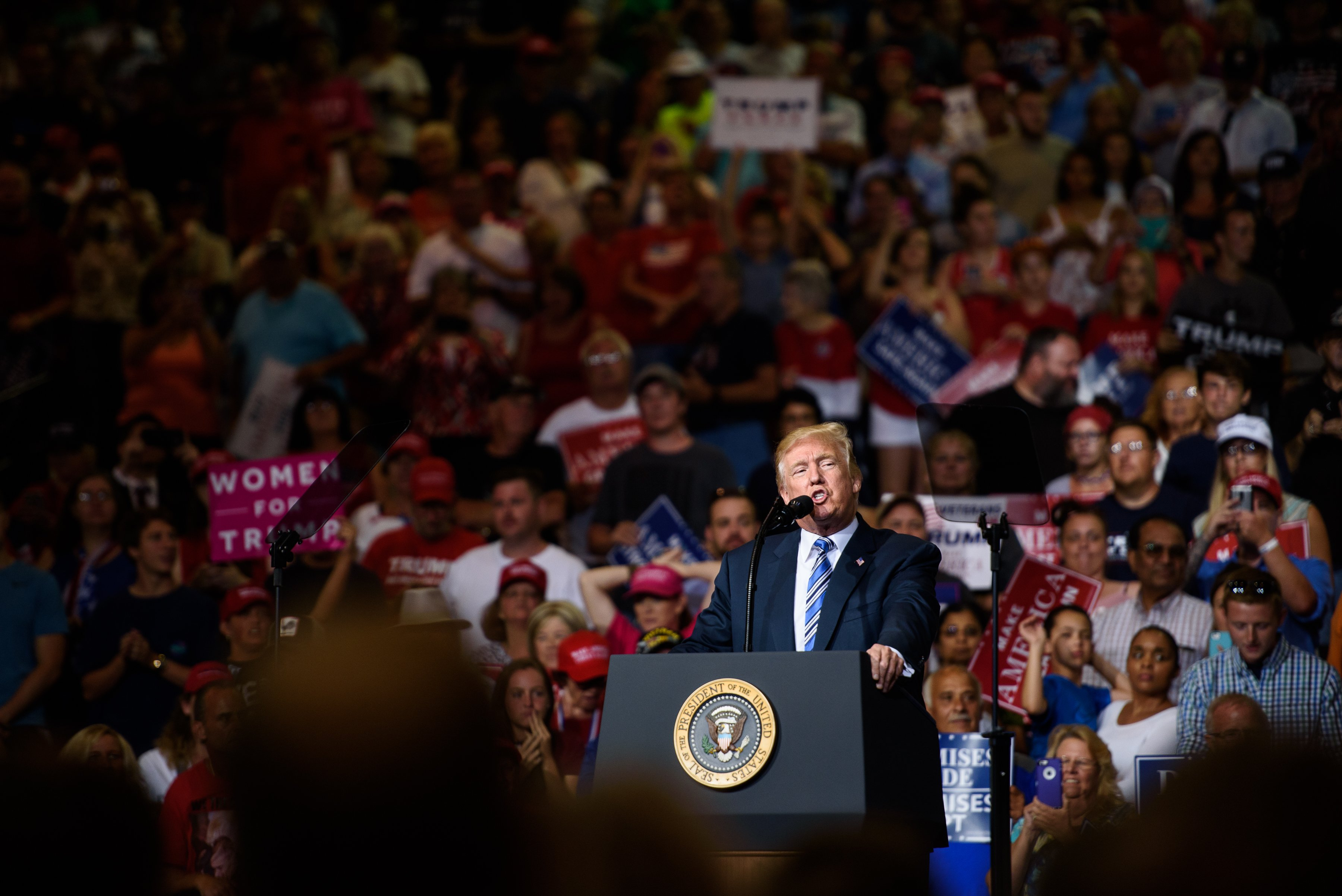HUNTINGTON, WV - AUGUST 03: President Donald J. Trump speaks at his campaign rally at the Big Sandy Superstore Arena on August 3, 2017 in Huntington, West Virginia. (Photo by Justin Merriman/Getty Images)