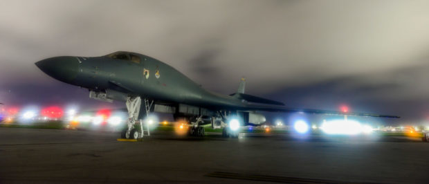 FILE PHOTO: A U.S. Air Force B-1B Lancer bomber sits on the runway at Anderson Air Force Base, Guam July 18, 2017. U.S. Air Force/Airman 1st Class Christopher Quail/Handout/File Photo via REUTERS.