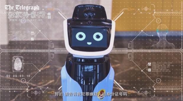 """A Chinese """"legal robot"""" (Screenshot/Telegraph video)"""