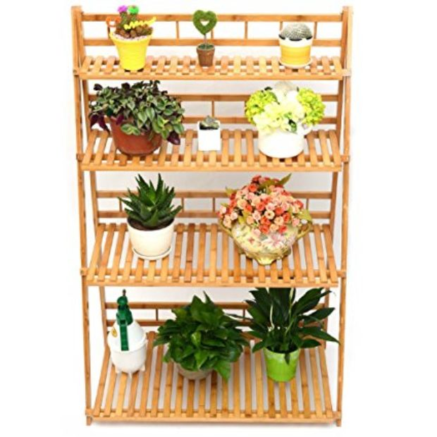 Normally $178, this bamboo plant stand is 49 percent off (Photo via Amazon)