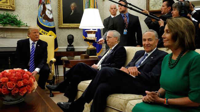 President Donald Trump meets with Senate Majority Leader Mitch McConnell, Senate Democratic Leader Chuck Schumer, House Minority Leader Nancy Pelosi and other congressional leaders in the Oval Office of the White House in Washington, September 6, 2017. REUTERS/Kevin Lamarque