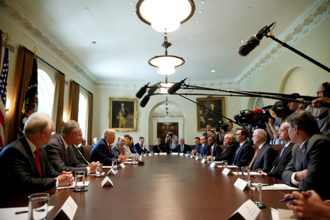 President Donald Trump speaks during a cabinet meeting at the White House in Washington, July 31, 2017. REUTERS/Joshua Roberts