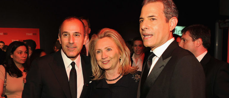 NEW YORK, NY - APRIL 24: Matt Lauer, Secretary of State Hillary Rodham Clinton Brian Williams and attend the TIME 100 Gala, TIME'S 100 Most Influential People In The World, cocktail party at Jazz at Lincoln Center on April 24, 2012 in New York City. (Photo by Larry Busacca/Getty Images for TIME)