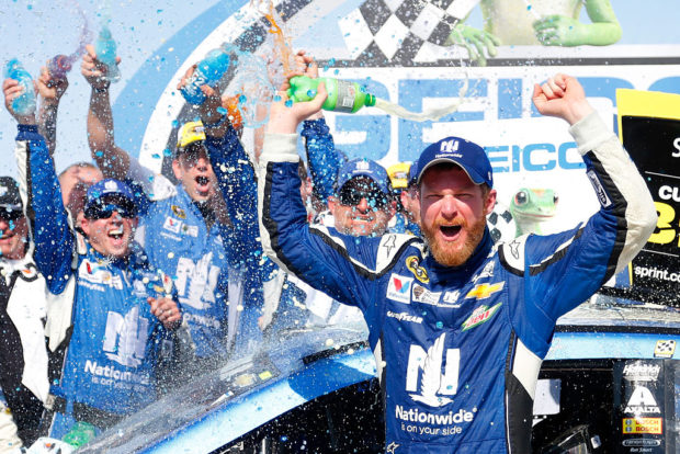 TALLADEGA, AL - MAY 03: Dale Earnhardt Jr., driver of the #88 Nationwide Chevrolet, celebrates in victory lane after winning the NASCAR Sprint Cup Series GEICO 500 at Talladega Superspeedway on May 3, 2015 in Talladega, Alabama. (Photo by Matt Sullivan/Getty Images)