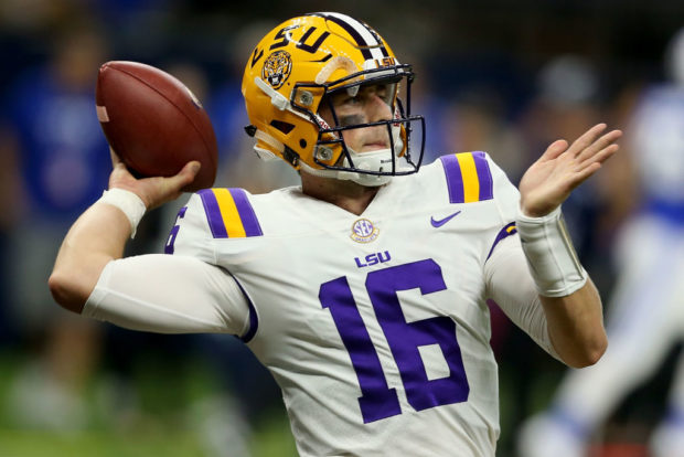 NEW ORLEANS, LA - SEPTEMBER 02: Danny Etling #16 of the LSU Tigers warms up during pregame before facing the Brigham Young Cougars at Mercedes-Benz Superdome on September 2, 2017 in New Orleans, Louisiana. (Photo by Sean Gardner/Getty Images)