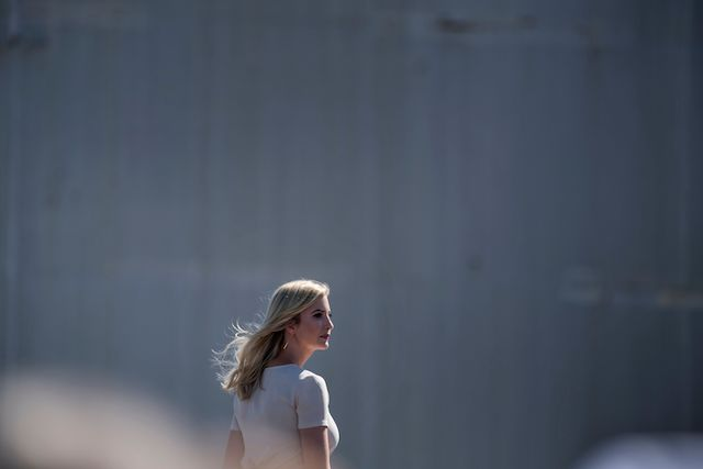 Ivanka Trump walks while her father US President Donald Trump speaks about the need for tax reform at Andeavor Refinery, September 6, 2017 in Mandan, North Dakota. / AFP PHOTO / Brendan Smialowski (Photo credit should read BRENDAN SMIALOWSKI/AFP/Getty Images)