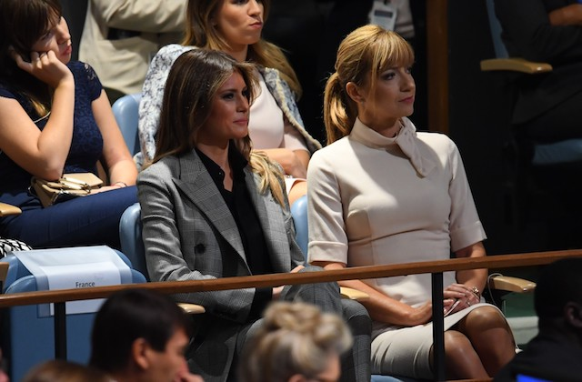 US First Lady Melania Trump (C) listens to her husband, US President Donald Trump, address the 72nd session of the General Assembly at the United Nations in New York September 19, 2017. / AFP PHOTO / TIMOTHY A. CLARY (Photo credit should read TIMOTHY A. CLARY/AFP/Getty Images)