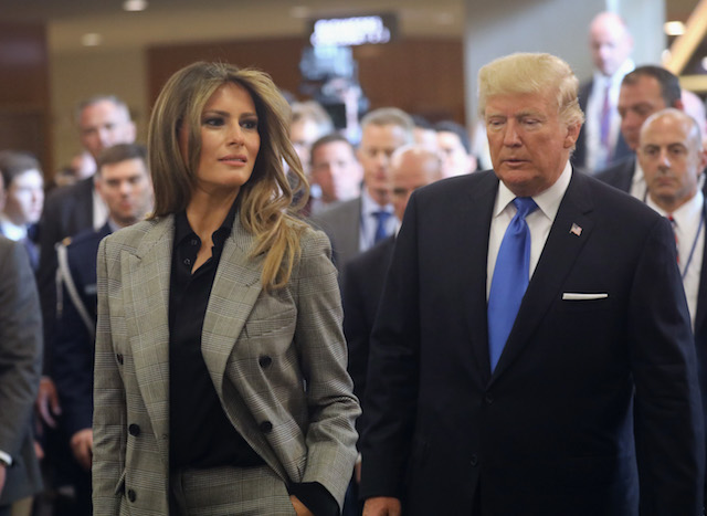NEW YORK, NY - SEPTEMBER 19: U.S. first lady Melania Trump and President Donald Trump depart the United Nations after the president's speech on September 19, 2017 in New York City. He addressed his first General Assembly meeting. (Photo by John Moore/Getty Images)