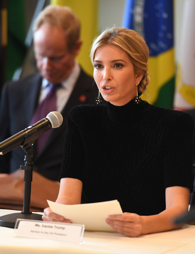 """Ivanka Trump addresses the event """"A Call to Action to End Forced Labour, Modern Slavery and Human Trafficking"""" on September 19, 2017 at the United Nations in New York. / AFP PHOTO / DON EMMERT (Photo credit should read DON EMMERT/AFP/Getty Images)"""