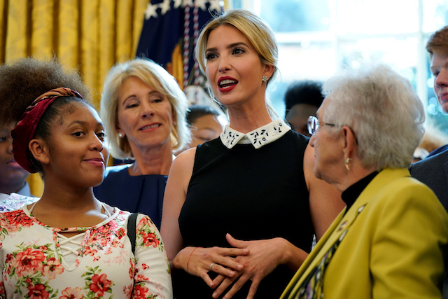 """Senior White House Advisor Ivanka Trump speaks before U.S. President Donald Trump a memorandum """"Increasing Access to High-Quality Science, Technology, Engineering and Math (STEM) Education"""" in the Oval Office of the White House in Washington, U.S., September 25, 2017. REUTERS/Joshua Robert"""