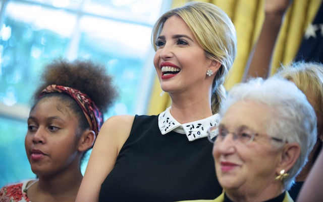 Ivanka Trump smiles during a ceremony before US President Donald Trump signed a memorandum on increasing access to science, technology, engineering and mathematics education in the Oval Office of the White House on September 25, 2017 in Washington, DC. / AFP PHOTO / MANDEL NGAN (Photo credit should read MANDEL NGAN/AFP/Getty Images)