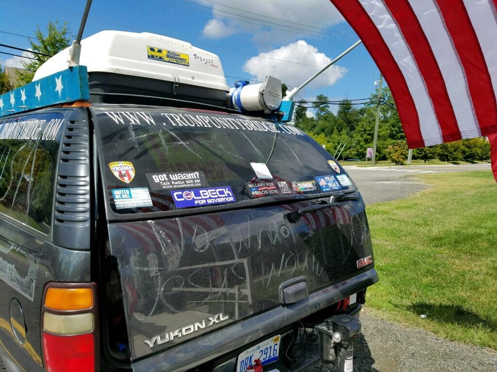 Anti-Trump activists vandalized tribute to Trump. Photo courtesy of Rob Cortis.