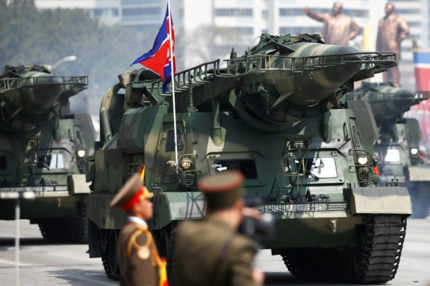 Missiles are driven past the stand with North Korean leader Kim Jong Un and other high ranking officials during a military parade marking the 105th birth anniversary of the country's founding father, Kim Il Sung in Pyongyang, April 15, 2017. REUTERS/Damir Sagolj