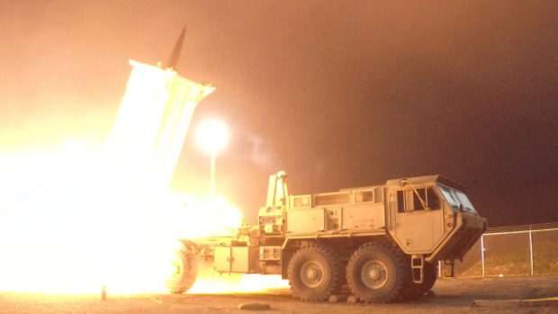 A Terminal High Altitude Area Defense (THAAD) interceptor is launched from the Pacific Spaceport Complex Alaska during Flight Experiment THAAD (FET)-01 in Kodiak, Alaska, U.S. on July 30, 2017. Picture taken on July 30, 2017. Courtesy Leah Garton/Missile Defense Agency/Handout via REUTERS