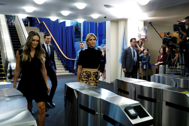 Ivanka Trump (R) and Lara Trump (L) depart after U.S. President Donald Trump delivered his address to the United Nations General Assembly in New York, U.S., September 19, 2017. REUTERS/Kevin Lamarque - RC135F6DB2F0