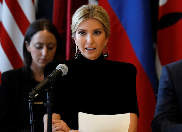 Ivanka Trump speaks during a meeting on action to end modern slavery and human trafficking on the sidelines of the 72nd United Nations General Assembly at U.N. Headquarters in Manhattan, New York, U.S., September 19, 2017. REUTERS/Brendan McDermid - RC111FE5C340