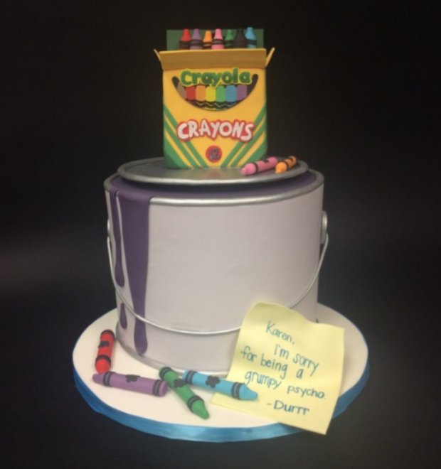Lexi Ginsburg Mota's apology cake. Used with permission of Baker Botts LLP.
