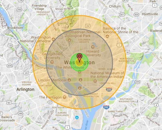 NUKEMAP by Alex Wellerstein, Map data ©2017 Google