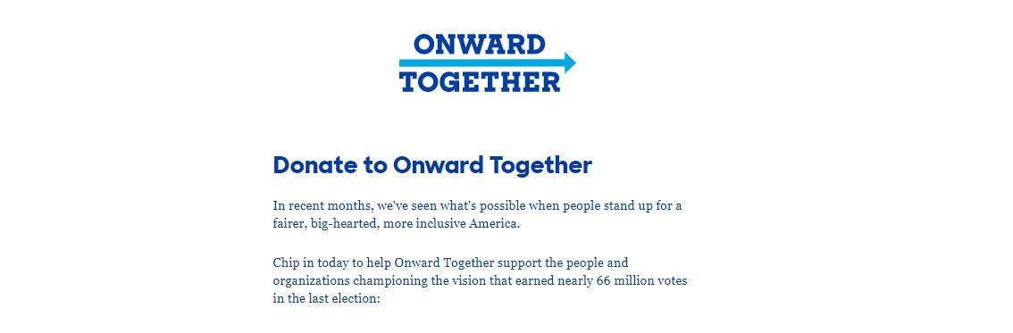 Onward Together webpage screenshot