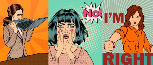 frustrated feminists collage Shutterstock/Ellen Bronstayn, Shutterstock/ivector, Shutterstock/ivector